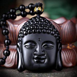 Cabeza de Bouddha en Obsidiana Negra